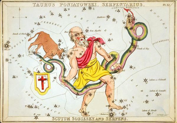 Hình ảnh tượng trưng của Xà Phu - cung hoàng đạo thứ 13 là một người đàn ông cường tráng giữ con rắn khổng lồ Anaconda