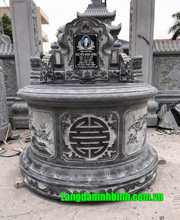Xây mộ tròn bằng đá khối theo chuẩn kích thước Lỗ ban phong thủy