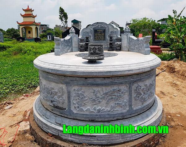 Mẫu mộ tròn đẹp bằng đá khối xanh